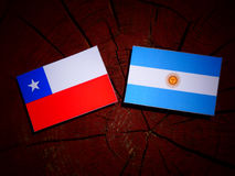 Chilean flag with Argentinian flag on a tree stump isolated. Chilean flag with Argentinian flag on a tree stump Stock Image