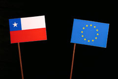 Chilean flag with European Union EU flag isolated on black. Background Stock Images