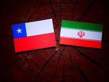 Chilean flag with Iranian flag on a tree stump isolated. Chilean flag with Iranian flag on a tree stump Stock Photography