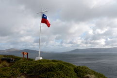 Chilean flag at the lighthouse at Cape horn Royalty Free Stock Photo