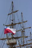 Chilean flag on sailboat. Chilean flag unfurls in a ship's mast Royalty Free Stock Image