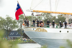 Chilean flag at the stern- tall ship Esmeralda Stock Images
