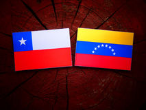 Chilean. Flag with Venezuelan flag on a tree stump isolated Stock Image