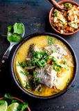 CHILEAN FOOD. Fish soup CALDILLO DE CONGRIO served in clay bowl, top view royalty free stock photo