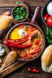 Chilean food. Picante caliente. Tomatoes, onion, chili fried with eggs Stock Photography