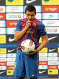 Chilean footballer Alexis Sanchez. During his presentation as new the FC Barcelona player in FC Barcelona Sportive City in Barcelona, on July 25, 2011 Royalty Free Stock Photography