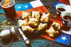 Chilean independence day concept. fiestas patrias. Chilean typical dish and drink on independence day party, 18 Stock Images