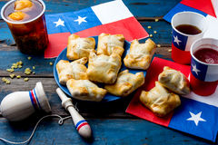 Chilean independence day concept. fiestas patrias. Chilean typical dish and drink on independence day party, 18 Stock Photo