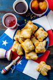 Chilean independence day concept. fiestas patrias. Chilean typical dish and drink on independence day party, 18 Royalty Free Stock Photography