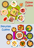 Chilean and peruvian healthy food icon set Stock Image