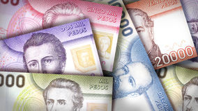 Chilean Peso Background. Chilean Peso bills creating a colorful background Royalty Free Stock Photography