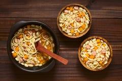 Chilean Porotos con Riendas Beans with Pasta Dish Stock Photo