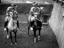 Chilean Rodeo, Huasos Waiting at the Gate Stock Photo