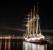 Chilean Sailing Ship Esmeralda. Docking in Vancouver port. Night Time royalty free stock image
