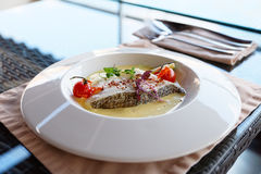 Chilean seabass fillet in plate Stock Photo