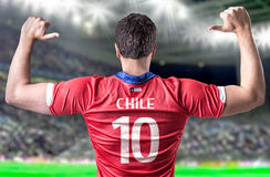Chilean Soccer player in the stadium Royalty Free Stock Images