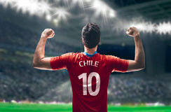 Chilean Soccer player in the stadium Stock Photo