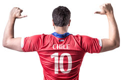 Chilean Soccer player on white background Royalty Free Stock Images