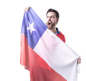 Chilean Soccer player on white background Stock Images