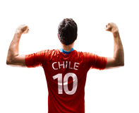 Chilean Soccer player on white background Stock Photos