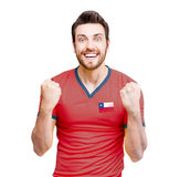 Chilean Soccer player on white background Stock Photography