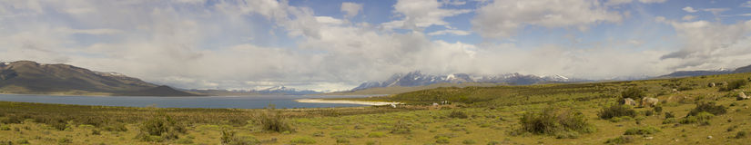 Chilean steppe with Torres del Paine National Park Royalty Free Stock Photography
