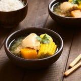 Chilean tradicional Cazuela de Pollo Soup Foto de archivo libre de regalías