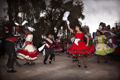 Chilean typical dancers. San Pedro de Atacama, Chile-September 17, 2014: Chilean typical dance performed by a group of people in a National day of Chile Stock Photography