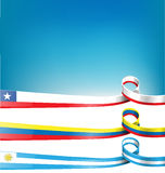 Chilean,uruguayan and colombian flag Stock Images