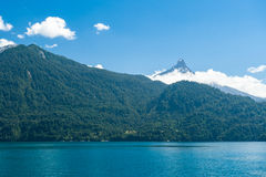 Chilean Volcano and lake Royalty Free Stock Images