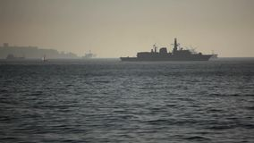 Chilean Warship. Warship and Cargo Ships on the Sea, Valparaiso, Chile stock video footage