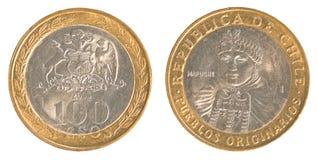 100 Chileens Peso'smuntstuk Royalty-vrije Stock Afbeeldingen