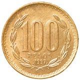 100 Chileens peso'smuntstuk Stock Afbeeldingen