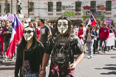Chilenare protesterar det privata pensionsystemet royaltyfri bild
