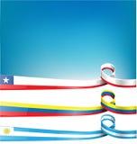 Chilenare, uruguayan och colombiansk flagga Arkivbilder