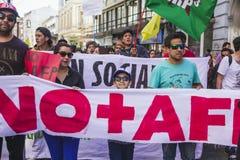 Chilenen protesteren Privé Pensioensysteem Stock Foto's