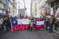 Chilenen protesteren Privé Pensioensysteem Royalty-vrije Stock Fotografie