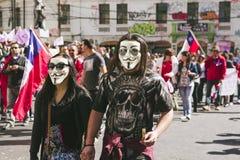 Chilenen protesteren Privé Pensioensysteem Royalty-vrije Stock Afbeelding