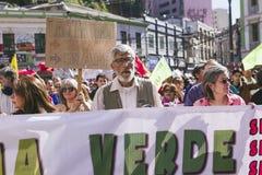 Chilenen protesteren Privé Pensioensysteem Royalty-vrije Stock Afbeeldingen
