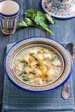 Chilenische Quinoasuppe mit Käse und Milch Stockfotografie
