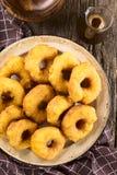 Chileno Picarones Fried Pastries com Chancaca Fotografia de Stock Royalty Free