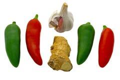 Chiles ajo y jengibre Imagen de archivo libre de regalías