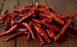 Chiles calientes secados Foto de archivo libre de regalías
