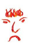 Chiles candentes secados en una dimensión de una variable de la cara Imagen de archivo