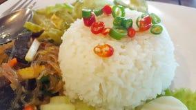 Chiles con el pla del nam del saucePrik de los pescados en foco selectivo del arroz Fotografía de archivo libre de regalías