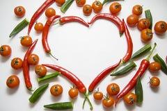 Chiles con los tomates y el quingombó imágenes de archivo libres de regalías