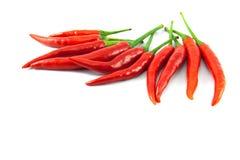 Chiles rojos en el fondo blanco Foto de archivo libre de regalías