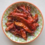 Chiles rojos secados Fotografía de archivo