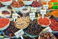 Chiles for Sale. Different types of chiles for sale in a market in Oaxaca, Mexico stock images