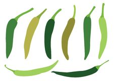Chiles verdes en el fondo blanco stock de ilustración